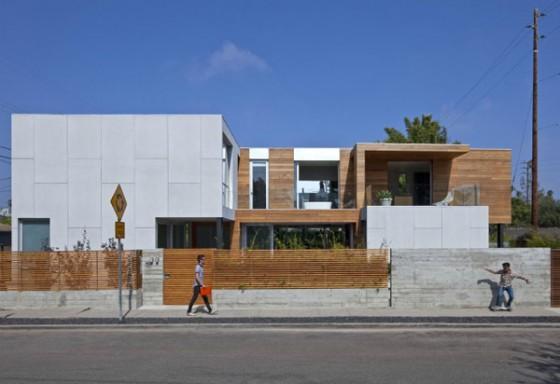 Exteriores fachada vivienda moderna sostenible en los Angeles