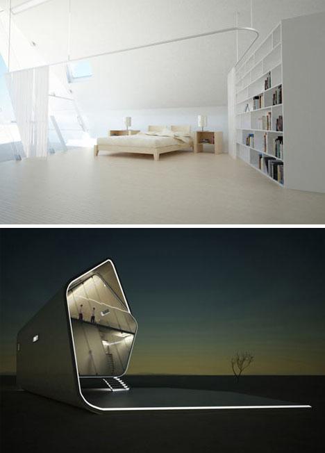 Casa con forma de rollo en California Interiores