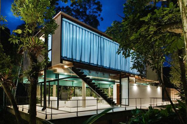Casa moderna transparente en el bosque lluvioso - mundo-casas.com