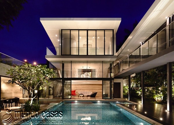 Terrenos ondulados base de una casa moderna maravillosa en Singapur (10)