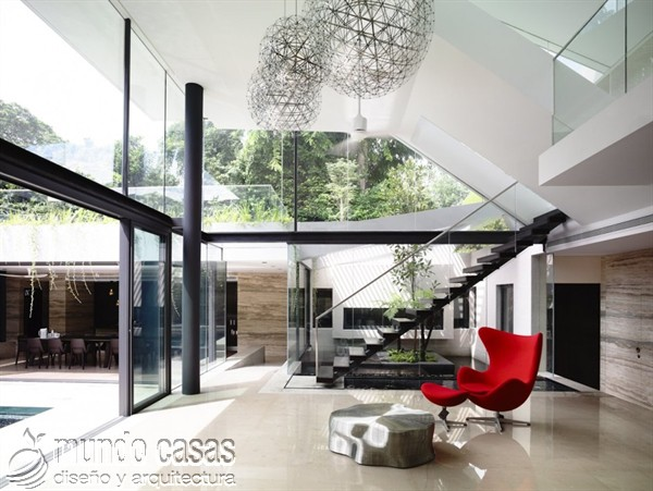 Terrenos ondulados base de una casa moderna maravillosa en Singapur (11)