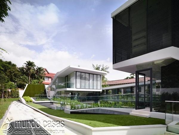 Terrenos ondulados base de una casa moderna maravillosa en Singapur (3)
