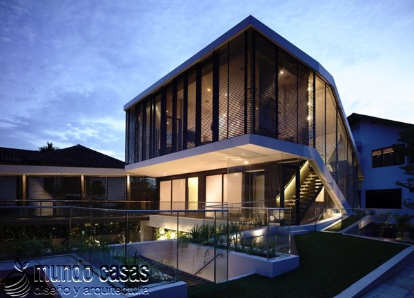 Terrenos ondulados base de una casa moderna maravillosa en Singapur (5)