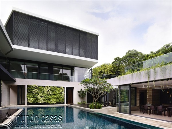 Terrenos ondulados base de una casa moderna maravillosa en Singapur (6)