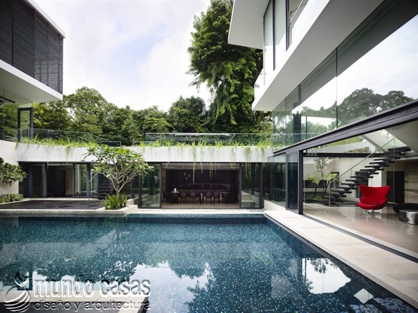 Terrenos ondulados base de una casa moderna maravillosa en Singapur (7)
