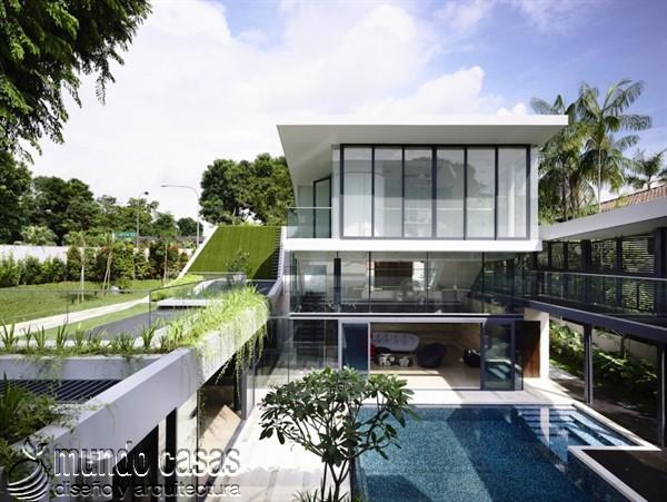 Terrenos ondulados base de una casa moderna maravillosa en Singapur (8)