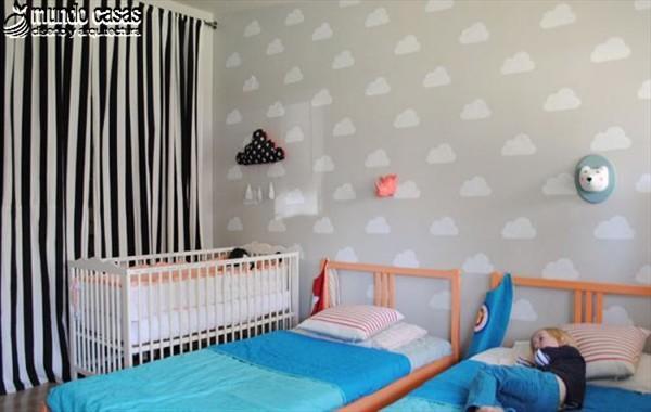 Idea artesanal para decorar una habitación infantil con nubes (1)