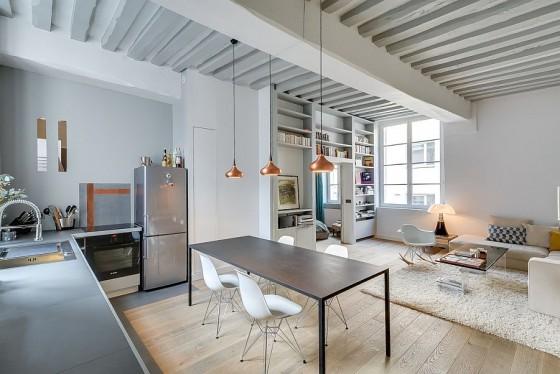 Interiores de apartamento decorado con elementos de cobre (1)