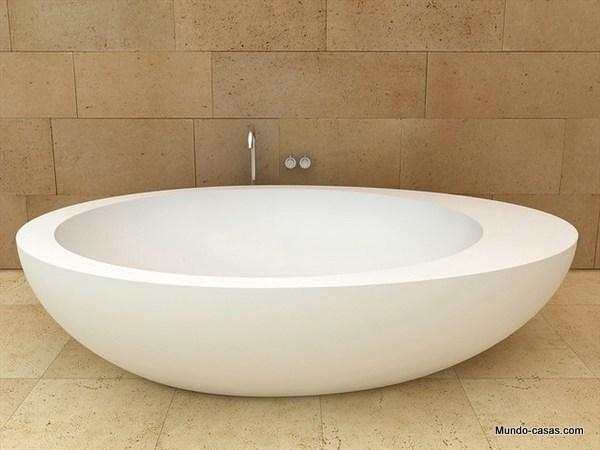 Tina de ceramica con diseño ovalado color blanco por CERAMICACIELO (1)
