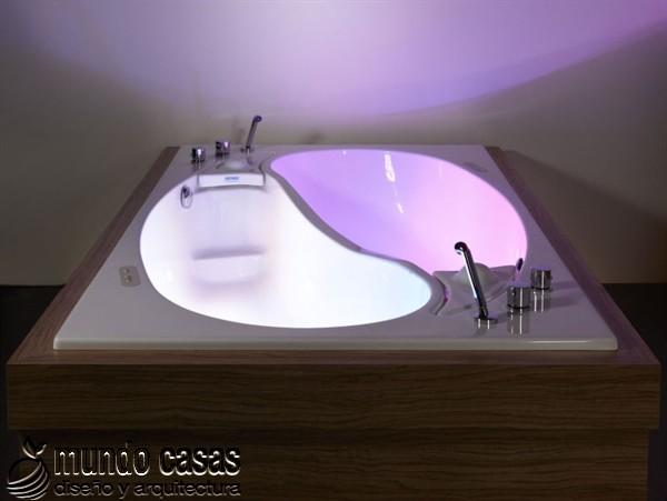 Original tina de baño estilo Yin Yang para dos personas