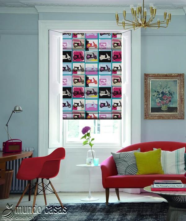 Decoremos nuestras ventanas con cortinas basadas en arte popular de Birmingham West Midlands Lambretta-Bella