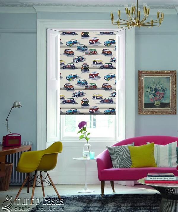 Decoremos nuestras ventanas con cortinas basadas en arte popular de Birmingham West Midlands Mini-Cooper-Metro