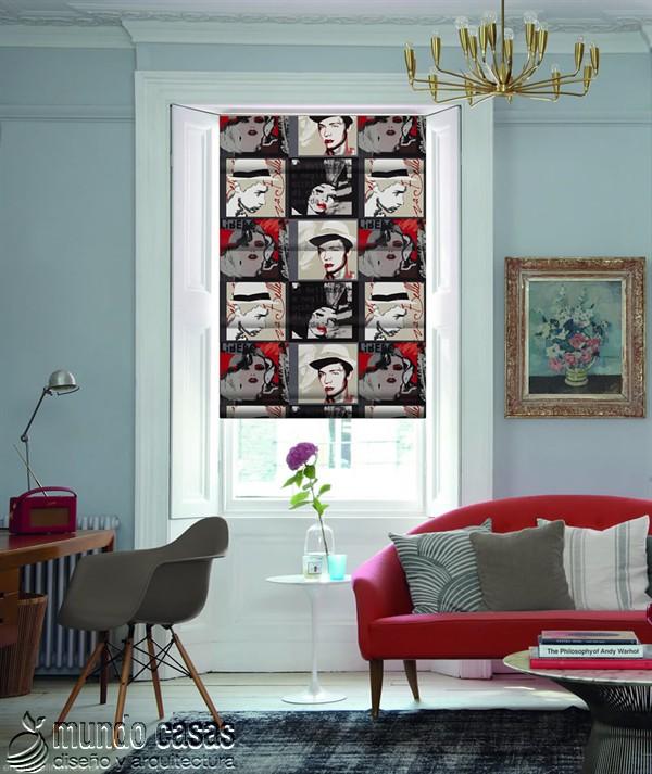 Decoremos nuestras ventanas con cortinas basadas en arte popular de Birmingham West Midlands Pop-Art-Vino