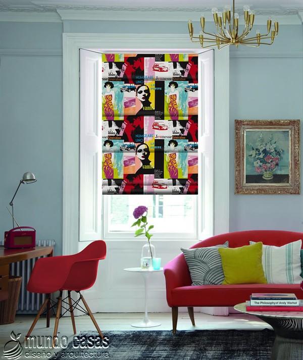 Decoremos nuestras ventanas con cortinas basadas en arte popular de Birmingham West Midlands Riviera-Jazz