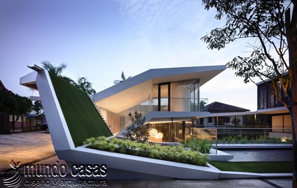 Terrenos ondulados base de una casa moderna maravillosa en Singapur (2)