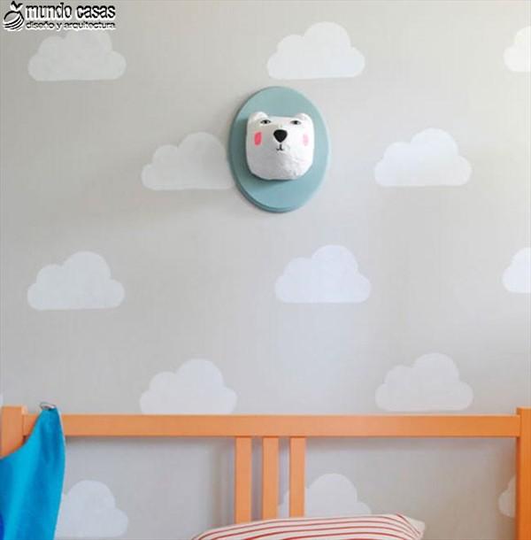 Idea artesanal para decorar una habitación infantil con nubes (3)