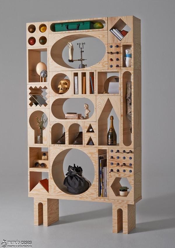 Estantería armable y desarmable con acabados en plywood de origen sueco (1)