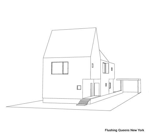 Planos de casa multifamiliar - Flushing Queens New York - color blanco - 2700 pies cuadrados