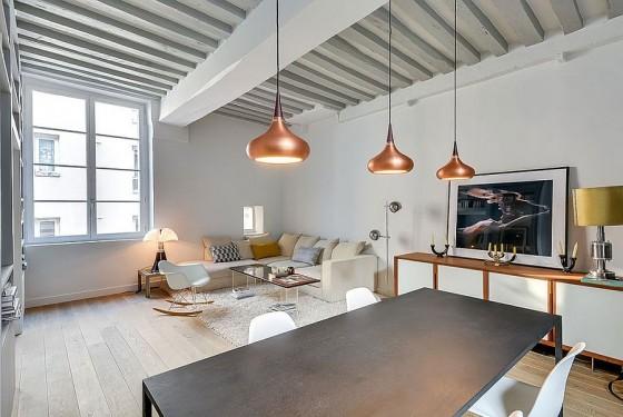 Interiores de apartamento decorado con elementos de cobre (4)