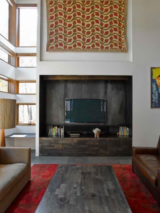 Los muebles y la TV  con un excelente diseño
