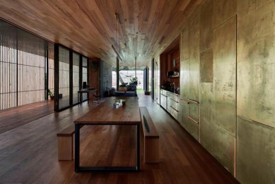 el concreto reutilizado en las paredes